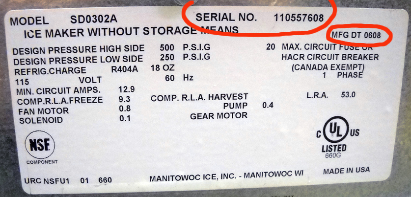 Manitowoc Ice Machine Serial Numbers